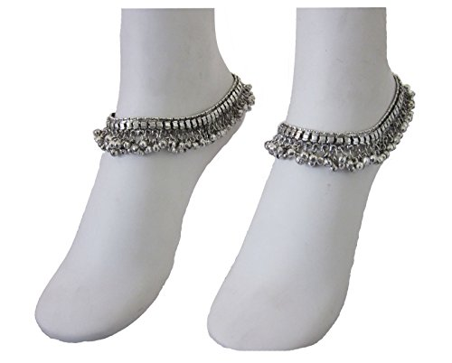 Jingle Bell Charm Soldered Handmade Anklets Ankle Bracelet Pair Barefoot Foot Boot Womens Boho Jewelry