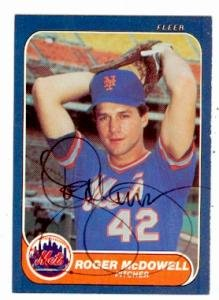 - Autograph Warehouse 57660 Roger Mcdowell Autographed Baseball Card New York Mets 1986 Fleer No .89