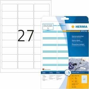 HERMA etiquetas de nombre seda al acetato azul 63,5 x 29,6 mm Special A4 impresora láser