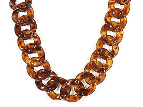 """Style-ARThouse Lovely Links No. 2"""" Tortoise Shell Pattern Acrylic Long Necklace, 28 Inches"""