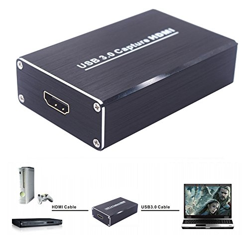 Alotm HDMI USB 3.0 Video Capture Dongle 1080P 60FPS Drive-Free Capture Card Device Dongle Full HD 1080P Video Audio HDMI to USB Adapter Converter for Windows Linux Os X System