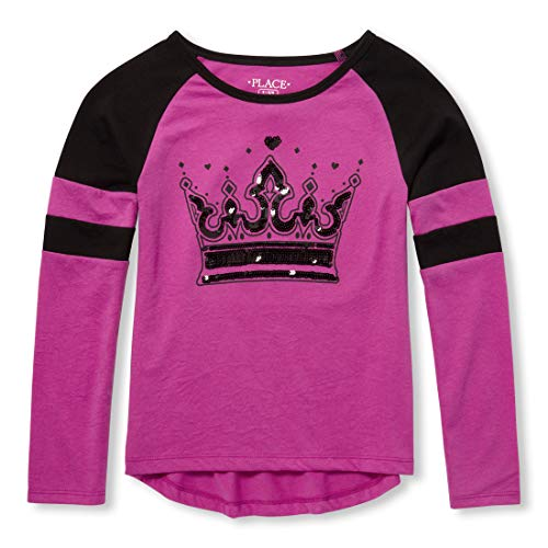 The Children's Place Big Girls Long Sleeve Graphic Tops, neon Plum, XS (4)
