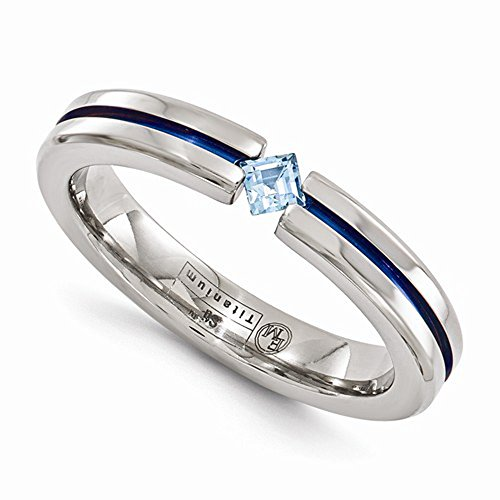 Edward Mirell Titanium Tension Set Blue Topaz and Blue Anodized 4mm Wedding Band - Size 5.5 by Edward Mirell