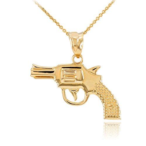 Collier Femme Pendentif Solide 14 Ct Or Jaune Revolver Pistolet Canon (Livré avec une 45cm Chaîne)