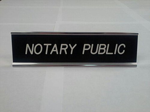 Black Notary Desk Sign