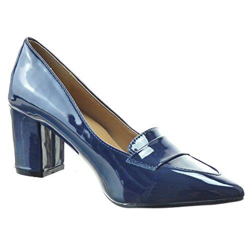 Sopily - Scarpe da Moda scarpe decollete alla caviglia donna lucide verniciato Tacco a blocco tacco alto 7 CM - Blu