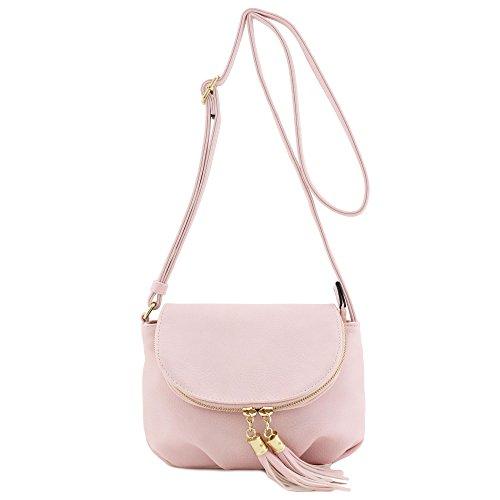 Tassel Accent Small Half Moon Crossbody Bag (Small Flap Tassel)