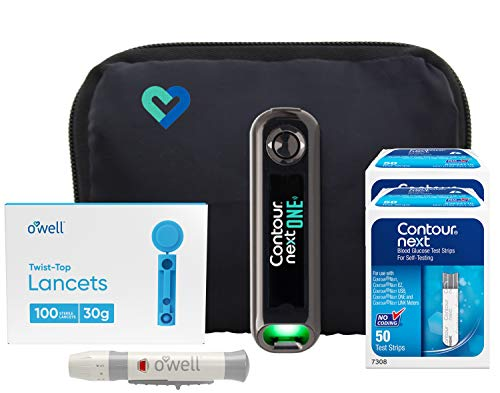 Contour Next ONE Blood Glucose Kit | Contour Next ONE Bluetooth Meter, 100 Contour Next Blood Glucose Test Strips, 100 O…