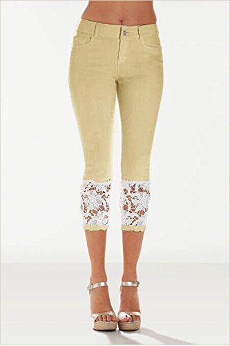 Hibote Pants Ladies Stretch Casual Women Lace Jeans for Trousers with Skinny Trousers 7 Waist Straight Pencil Jeggings High 8 Khaki Denim Sexy rwqXRvSr