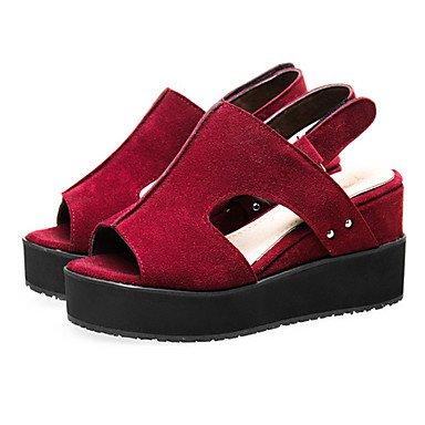 eu40 Office Toe amp; Heel Women's Dress Wedges uk7 Fleece Sandals Peep us9 Red Casual Platform cn41 gray Wedge Shoes Career Black rwwYzqvU
