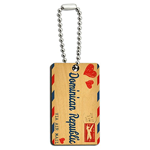 Air Mail Postcard Love for Dominican Republic Wood Wooden Rectangle Key Chain