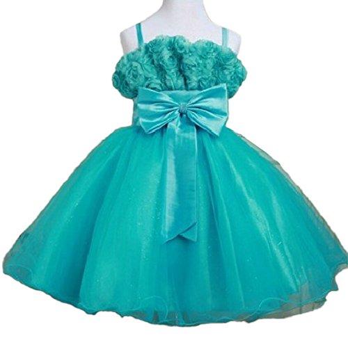 Mamas-Kiddy Lovely Infant Toddler Strap Satin Mesh Wedding Flower Girl Dress 10T/8Year-9Year Blue