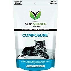 Composure Behavioral Vet Health Bite-Sized Cat Chews, 30 Count