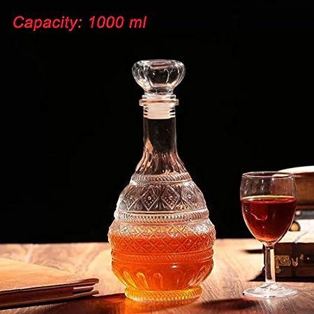 MDLUU Decantador de licor, decantador de bebidas alcohólicas de cristal con tapón hermético, botella decantador de whisky vodka Bourbon para regalo, hogar, bar, decoración de fiesta, 34 oz/1000 ml