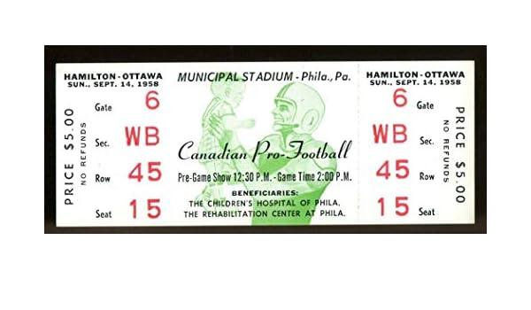 1958 CFL Full Ticket Hamilton Tiger-Cats v Ottawa Rough Riders NMT