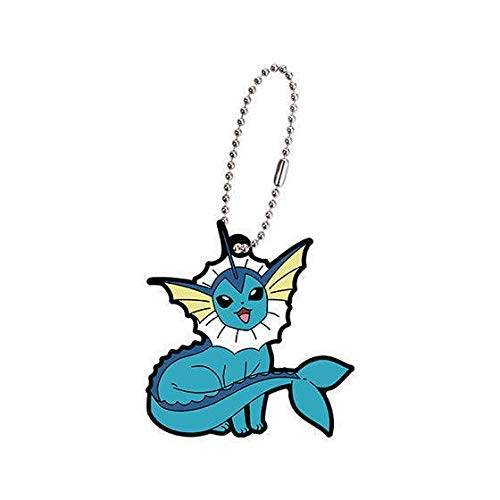 Bandai Pokemon Eevee Evolution Vaporeon Showers Character Gacha Capsule Rubber Key Chain Mascot Collection Anime Art