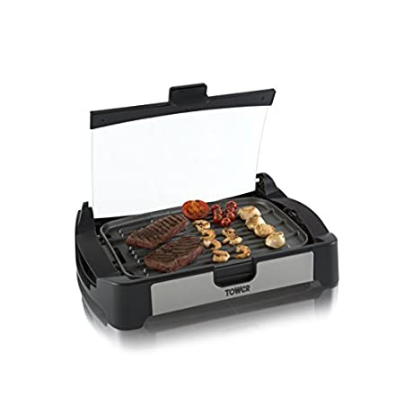 Tower T14009 2-in-1 Health Grill and Oven, Easy Clean, Ceramic, 2000 W, Black/Stainless Steel