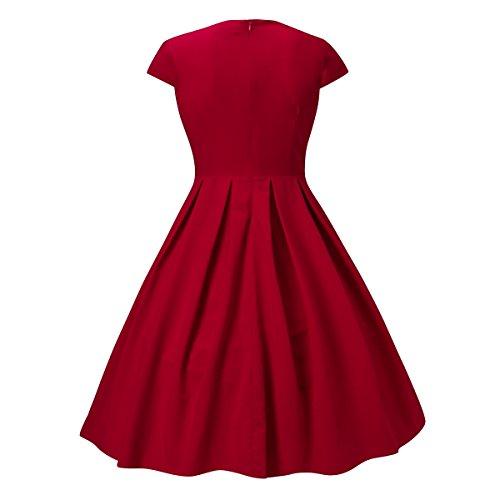 DILANNI Vintage 1950s Audrey Hepburn robe de soirée cocktail, bal style années 50, Rockabilly, Swing(0X,Rouge)