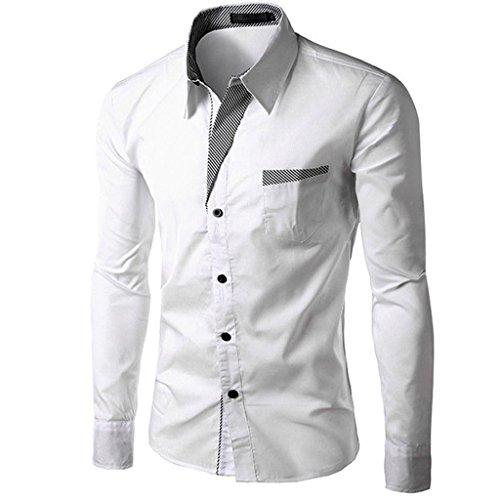 Mens Elegant Long Sleeve Slim Fit Formal Dress Plus Size Blouse Shirts (White,L) (White Dress For Teenager)