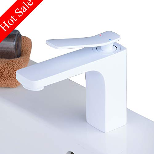 White Bathroom Sink Faucet Single Hole Single Handle Mixer Tap for bathroom,Beelee