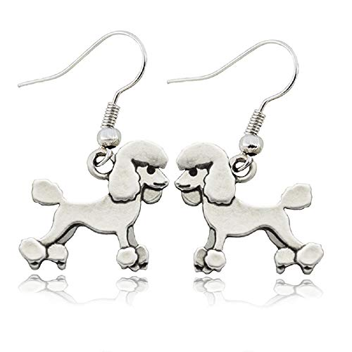 (PAPPET Poodle Earings Vintage Poodles Dog Charms Drop Earring Silver Metal Puppy Animal Pet Stud Earrings for Dog Lovers Women Jewelry Valentines Birthday Gifts)