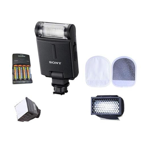 Sony HVL-F20M External Flash with Multi Interface Shoe and Built-in Diffuser - Bundle with 4AAA Ni-MH Batteries with Charger, Mini Soft Box Diffuser, Speed Light Reflector, Honey Comb for Speed Light (Sony Mi Flash)
