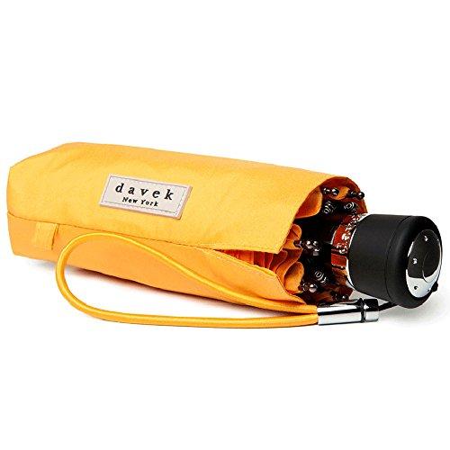 DAVEK MINI COMPACT UMBRELLA (Yellow) - Quality Windproof Travel Umbrella, Strong & Portable