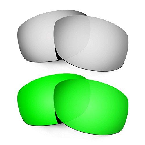 Hkuco Mens Replacement Lenses For Costa Zane Sunglasses Titanium/Emerald Green