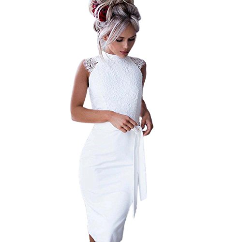 Sumen Women Summer Slim Fit Lace Sleeveless Dress with Belt (L, White)