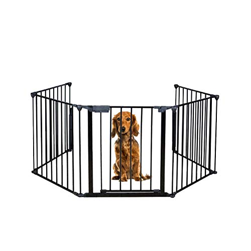 Long World Fireplace Safety Fence Protection Baby Gate Hearth Gate Foldable Extended BBQ Fire Fence Pet Toddler Dog Cat Gate with Door Metal Plastic Black NO Need Assemble For Sale