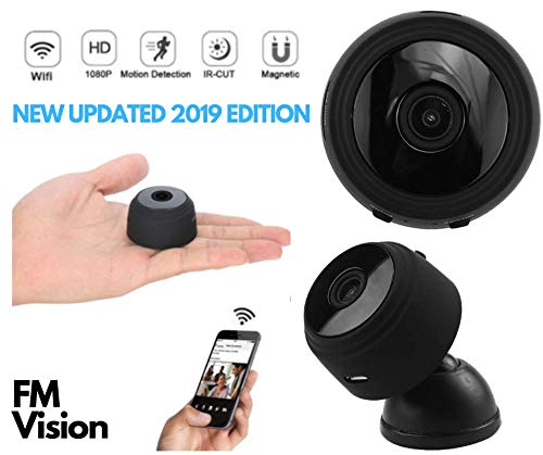 FM Vision Mini Hidden WiFi Spy Camera, Full HD 1080P, Wireless Indoor Home Security with APP, Remote Viewing, Motion Detection Alert, Night Vision, Rechargeable Battery, 150° Wide Angle Nanny Cam.