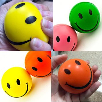 Adorox Smile Face Stress Squeeze Balls Assorted Colors 2.5 inch Happy Smiley Mini (36 pcs)