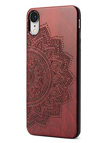 (Compatible for iPhone XR Floral Case, Engraving Floral Design High Impact Shock Absorbing Hybrid Rubber Full Protective Case for iPhone XR)