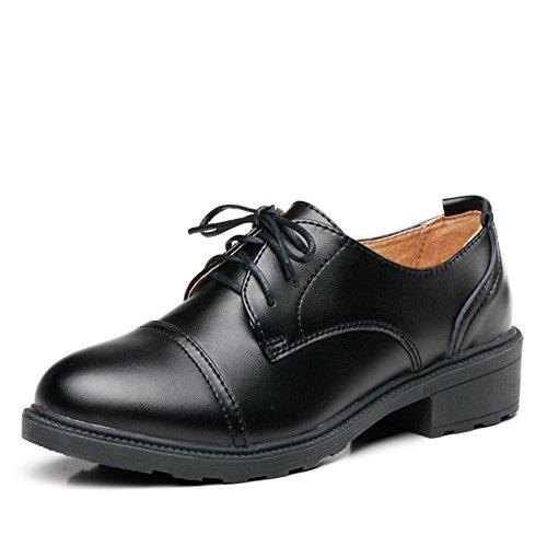 Primavera de Europa y los zapatos de tacón grueso/Zapatos de mujer/Zapatos de plataforma de cuero/Mujeres zapatos de aire británica B