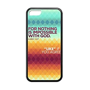 Apple Iphone 5C Case Cover TPU Laser Technology Bible quote For nothing is impossible with god luke 1:44 Coolest