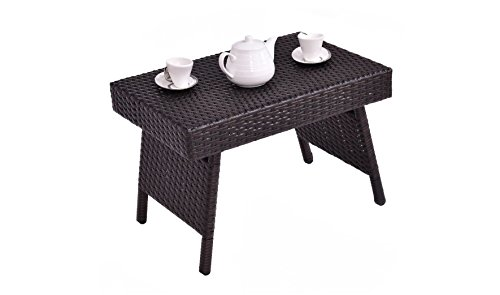 K&A Company Patio Folding Rattan Side Coffee Table Mix Brown by K&A Company