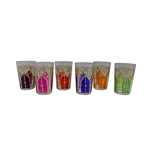 6 Piece Set of Gold Accented Artisan Moroccan Tea Glasses Cu