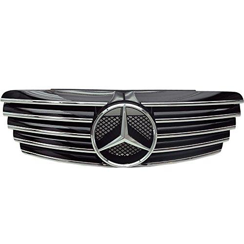 IKON MOTORSPORTS Grille+ Authentic Star Emblem Fits 1998-2003 Mercedes Benz W208 Clk-Class CL Style Black