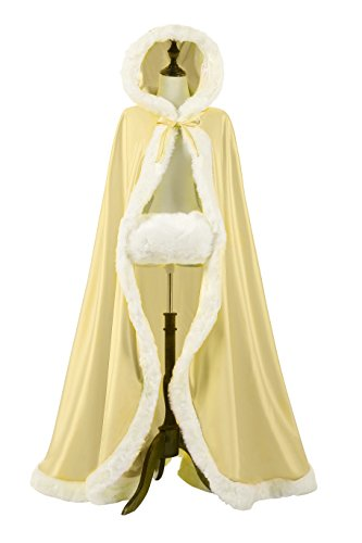 NUOMIQI Women's 57in Bridal Cape Wedding Cloak With Hand Muff Floor-length (Champagne) by NUOMIQI