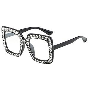 Sumen Women Men Fashion Artificial Diamond Frame Sunglasses Summer Hot Sale Sunglasses (E)