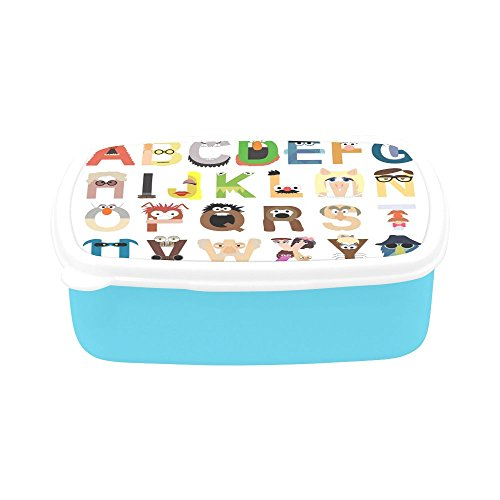 (JC-Dress Bento Box Fashion Rectangle Leak-proof Food Container Muppet Alphabet Funny Designed Lunch Box for Adults & Kids)