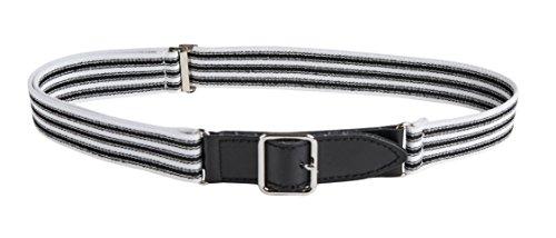 Sportoli Kids Elastic Adjustable Leather Front Stretch Belt Hook n Loop Closure - Black/White Ticking Stripes