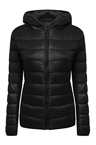 Yidarton Women's Lightweight Packable Hooded Coat Outwear Puffer Down Jacket Black-1 XL