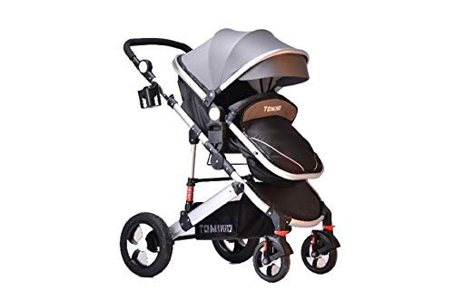 TomiKid Black Travel System 2 in 1 Combi Stroller Buggy Baby Child Pushchair Reverse or Forward Facing Rain Cover Mosquito Net Bottle Holder Foldable 24-48 Free Delivery Free Replacement Parts