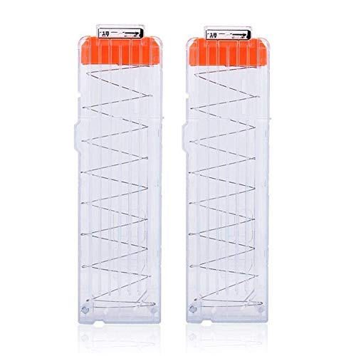 (T-best 2PCS Soft Bullet Clip Darts,6/12/18 Dart Quick Reload Refill Clip Cartridge Magazine Replacement Nerf Gun N-Strike Elite Blasters (18 Dart Transparent))