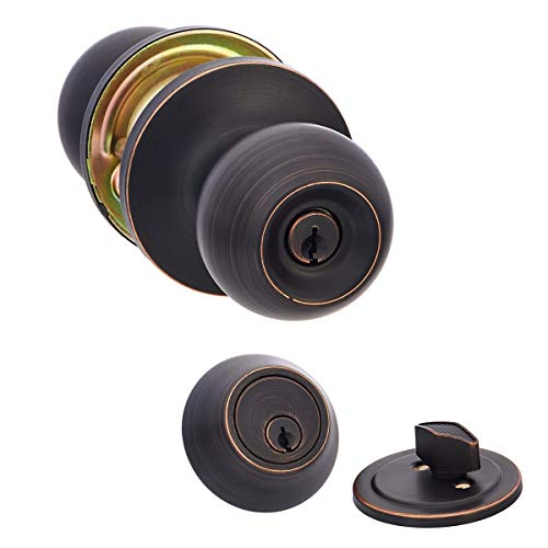 AmazonBasics Entry Door Knob With Lock and Deadbolt, Standard Ball, Oil Rubbed Bronze