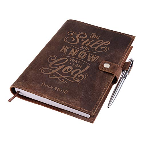 Genuine Leather Journal Notebook - Psalm 46v10 Embossed Inscription - Handcrafted Buffalo Leather Refillable Journal with Premium-Milled Lined Paper - Includes Silver Luxury Pen & Lined Journal Refill