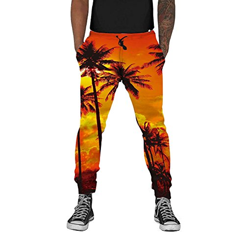 Loveternal Mens 3D Hawaii Sunset Print Cool Joggers Baggy Workout Sports 80s Pants Casual Sweatpants S