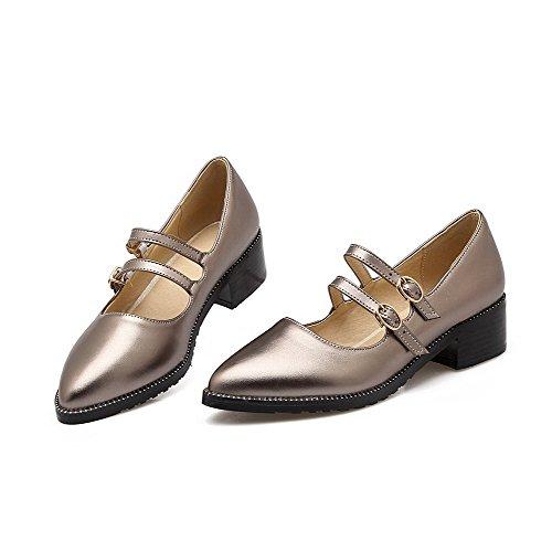 AllhqFashion Damen Rein Blend-Materialien Mittler Absatz Schnalle Spitz Zehe Pumps Schuhe Khaki