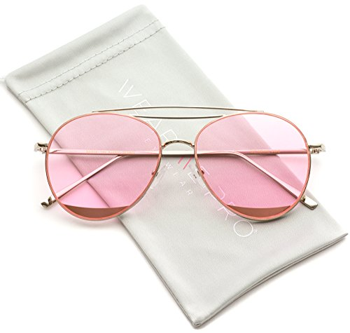 WearMe Pro - Modern Round Double Wire Aviator Sunglasses (Silver Frame / Tinted Red, - Glasses Aviator Red